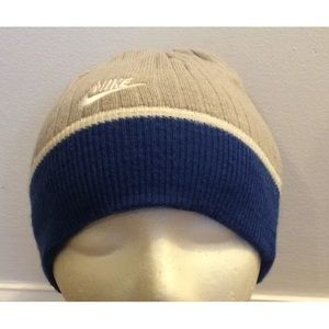 NIKE Gray and Blue Winter Hat Boys 864ab728206